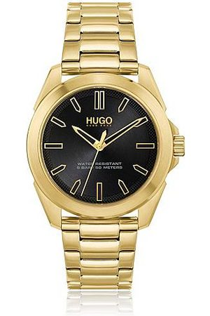 HUGO BOSS Gold-effect watch with black dial and link bracelet