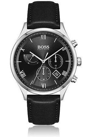 HUGO BOSS Men Watches - Black-dial chronograph watch with leather strap
