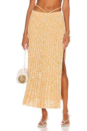 CHRISTOPHER ESBER Pleated Knit Tie Skirt in Dune Marle