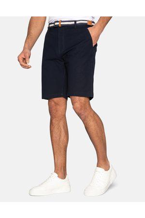 Threadbare Yell Belted Cotton Chino Shorts Navy