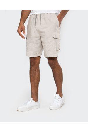 Threadbare Men Shorts - Swansea Pull On Linen Blend Cargo Shorts Fawn