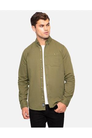 Threadbare Guthrie Cotton Long Sleeve Shirt Khaki