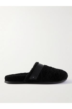 Mr P. Men Slippers - Leather-Trimmed Shearling Slippers