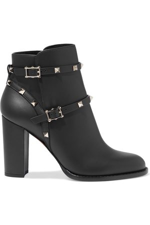 VALENTINO GARAVANI Women Ankle Boots - Woman Rockstud Strap-detailed Leather Ankle Boots Size 34.5