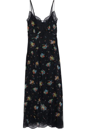 Paco rabanne Women Printed Dresses - Woman Lace-trimmed Floral-print Silk-chiffon Maxi Slip Dress Size 38