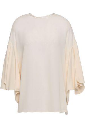 VALENTINO Women Blouses - Woman Gathered Silk Crepe De Chine Blouse Ivory Size 38
