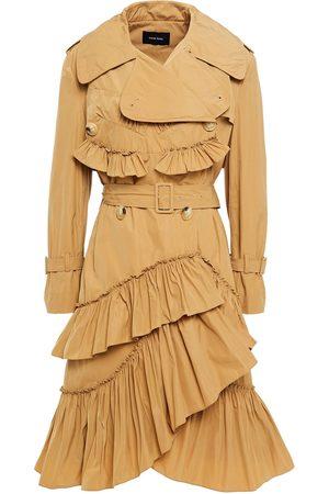 Simone Rocha Women Trench Coats - Woman Tiered Ruffled Shell Trench Coat Sand Size 10
