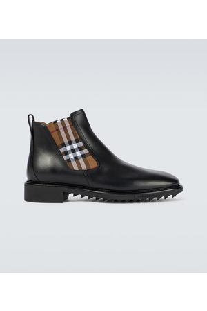 Burberry Checked Chelsea leather boots