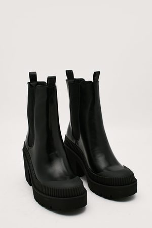 NASTY GAL Womens Faux Leather Block Heeled Chelsea Boots