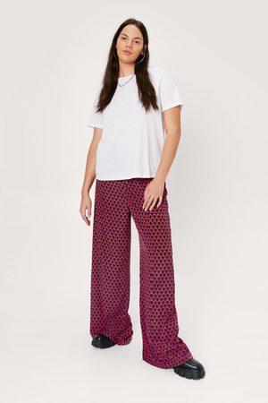 NASTY GAL Womens High Waisted Wide Leg Geometric trousers