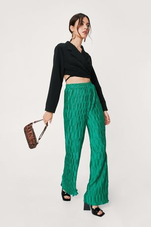 NASTY GAL Womens Plisse Pleated Wide Leg Trousers