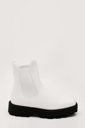 NASTY GAL Womens Faux Leather Cleated Chelsea Ankle Boots
