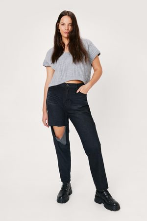 NASTY GAL Womens Sort Rip Out Plus Distressed Straight-Leg Jeans