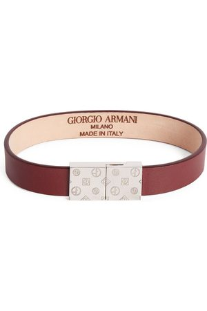 Armani Leather Embossed-Logo Bracelet