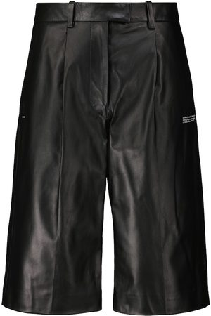 OFF-WHITE High-rise leather Bermuda shorts