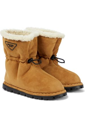 Prada Blow shearling-lined suede snow boots