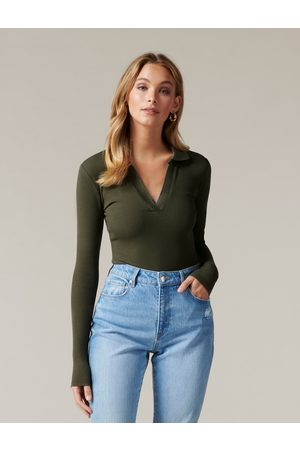 Forever New Women Polo Shirts - Women's Aspen Rib Polo Top in Olive, Size Large Rayon/Spandex