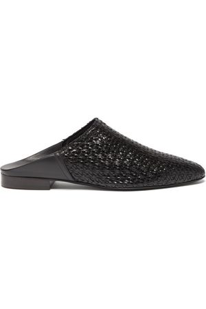 CO Point-toe Woven-leather Backless Loafers - Womens