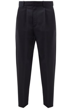 Acne Studios Porter Pleated Wool-blend Trousers - Mens - Navy
