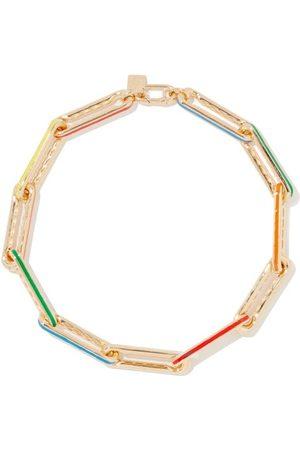 Lauren Rubinski Diamond, Enamel & 14kt Gold Link-chain Necklace - Womens - Multi