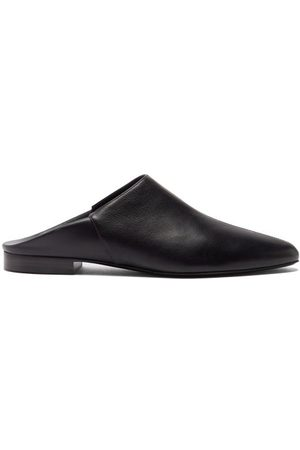 CO Women Loafers - Point-toe Leather Backless Loafers - Womens