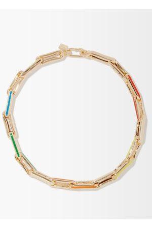 Lauren Rubinski Enamel & 14kt Gold Link-chain Necklace - Womens - Multi