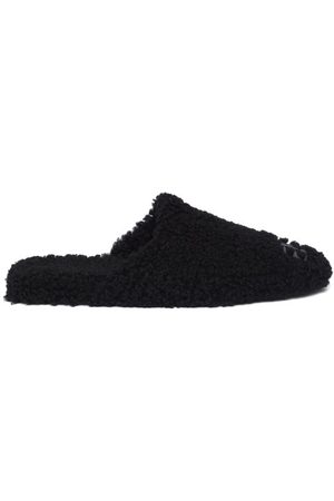 Balenciaga Cosy Bb-plaque Shearling Backless Loafers - Womens