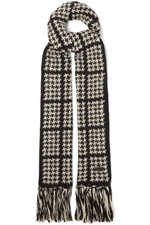 Saint Laurent Logo-plaque Houndstooth-check Wool-blend Scarf - Womens