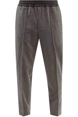 Moncler Men Trousers - Elasticated-waist Cropped Wool-flannel Trousers - Mens - Dark
