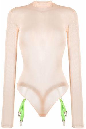 MAISON CLOSE Mesh long-sleeved bodysuit - Neutrals