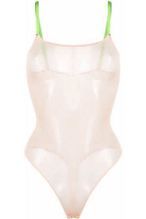 MAISON CLOSE Women Bodysuits - Mesh bodysuit - Neutrals