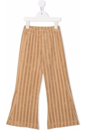 Longlivethequeen Textured-stripe flared trousers - Neutrals