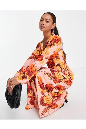 ASOS 70s panelled button through maxi shirt dress in 70s bloom print-Multi