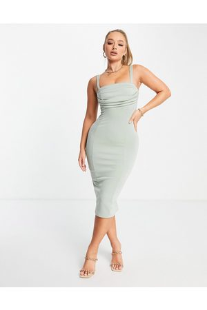 ASOS Corset pencil midi dress with ruched bust in sage