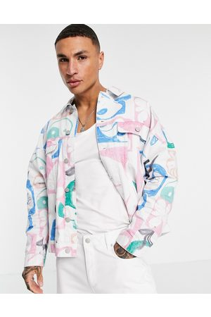 ASOS Denim jacket with graffiti print in