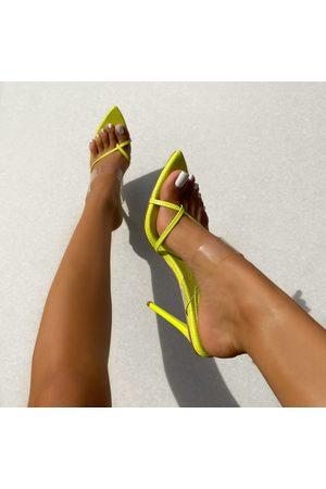 simmi.com Women Heels - Leilani Lime Clear Textured Toe Post High Heel Mules