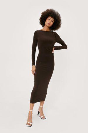 NASTY GAL Womens Slinky Long Sleeve Midi Dress