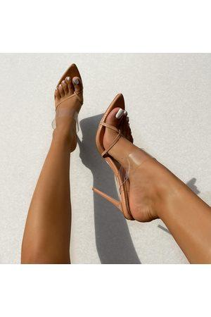 simmi.com Women Heels - Leilani Nude Clear Textured Toe Post High Heel Mules