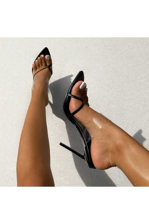 simmi.com Women Heels - Leilani Clear Textured Toe Post High Heel Mules