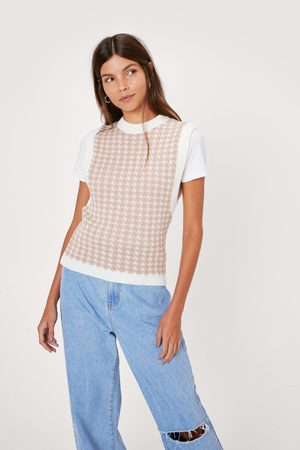 NASTY GAL Women Tank Tops - Womens Houndstooth Knitted Vest Top
