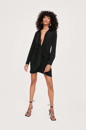 NASTY GAL Womens Plunging Tie Front Mini Shirt Dress