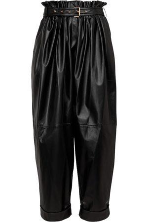 Balmain High-rise leather paperbag pants