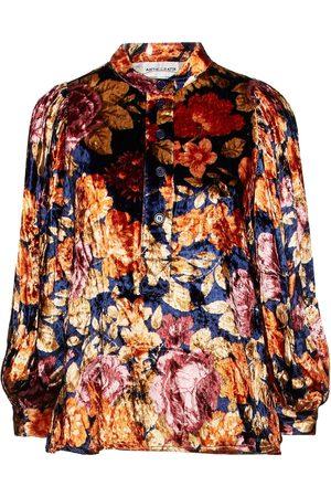Antik Batik Women Blouses - Woman Camino Gathered Floral-print Velvet Blouse Navy Size 36