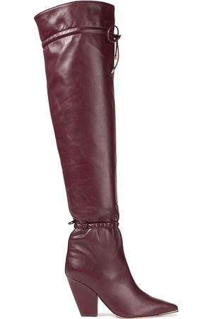 Tory Burch Woman Lila 90 Gathered Over-the-knee Boots Burgundy Size 10