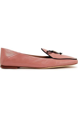 Tory Burch Women Loafers - Woman Embellished Leather Collapsible-heel Loafers Antique Rose Size 10.5