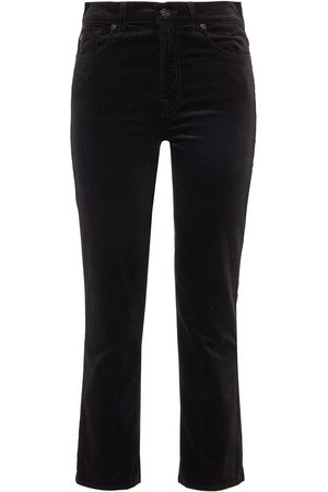 7 for all Mankind Woman Cropped Velvet Low-rise Straight-leg Jeans Size 24