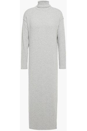 ENZA COSTA Woman Ribbed-knit Turtleneck Midi Dress Stone Size L