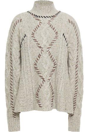 AUTUMN CASHMERE Woman Whipstitched Mélange Cable-knit Cashmere Sweater Mushroom Size M