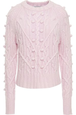 AUTUMN CASHMERE Women Turtlenecks - Woman Pompom-embellished Cable-knit Cashmere Sweater Lilac Size L