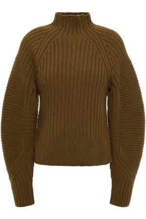 RAG&BONE Women Turtlenecks - Woman Striped Ribbed Wool Sweater Army Size L